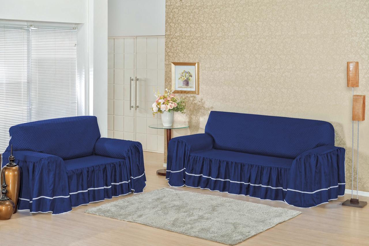 Capa para sofá Isabella 3 e 2 Lugares MATELADA AZUL