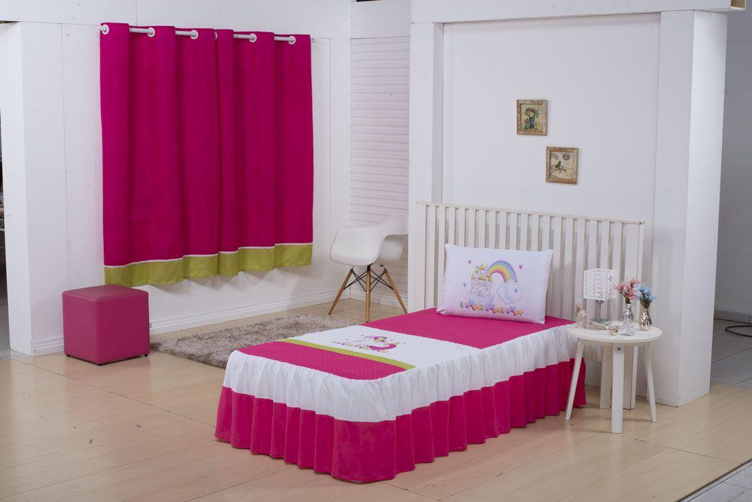 Colcha Kids Solteiro 02 Peças Pink/Branco