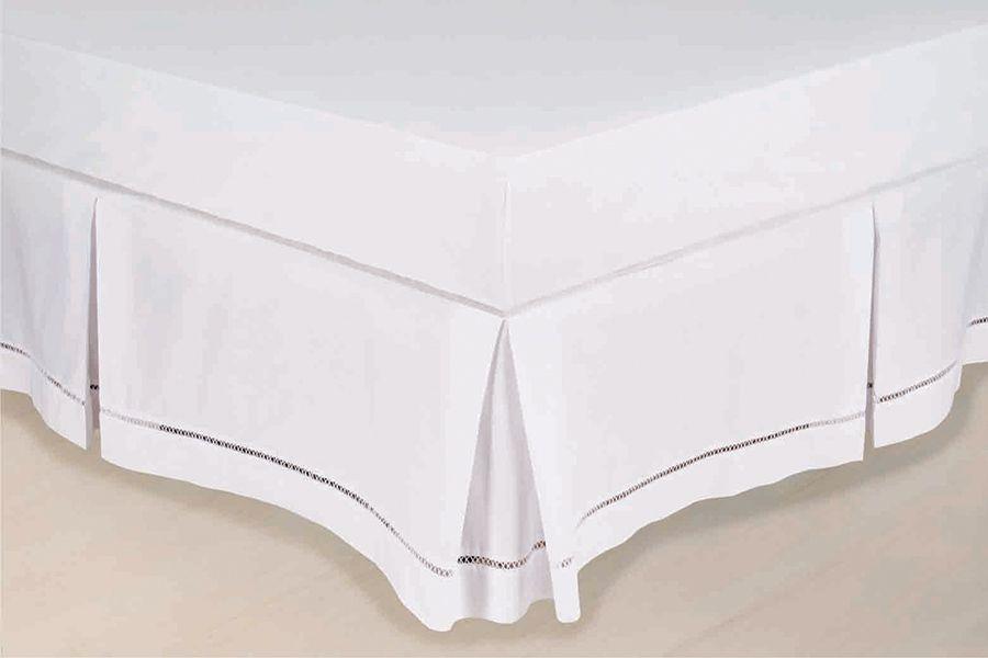 Saia Box Ponto Palito Microfibra Casal Padrão Branco