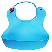 Babador de silicone colorido liso Azul para bebês