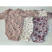 Body bebê manga longa HUG - Kit 3 pçs - Feminino - Tamanho P