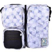 Bolsa Maternidade (Diaper Bag) com Berço Trocador - Cinza Geométrica