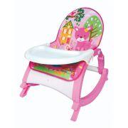 Cadeira de descanso vibratória musical com bandeja removível Rosa até 11kgs