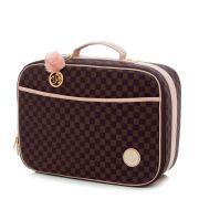 Conjunto bolsa maternidade Escocesa Colours marrom com rosa 03 peças - Lequiqui