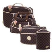 Conjunto bolsa maternidade Escocesa Colours marrom com rosa 04 peças - Lequiqui