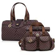 Conjunto Bolsa maternidade Escocesa marrom 02 peças mala + bolsa - Lequiqui