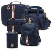 Conjunto bolsa maternidade Oxford marinho 05 peças - Lequiqui