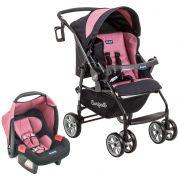 Conjunto Carrinho de bebê + bebê conforto AT6 K+Touring Evol SE Preto e Rosa - Burigotto