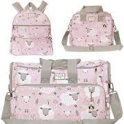 Conjunto de bolsa maternidade - Coleção bichinhos - Ovelha Rosa