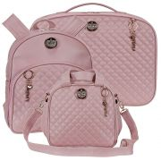 Conjunto de bolsa Pequena + Mochila + Mala 3 pçs- Oxford rosê  - Batistela Baby