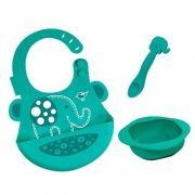 kit alimentação infantil em silicone colher + babador + tigela Elefante - Marcus & Marcus