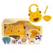 kit alimentação infantil em silicone colher + babador + tigela girafa - Marcus & Marcus
