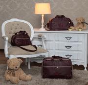 Kit Bolsa  Maternidade Glamour Vinho 03 pçs