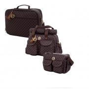 Kit bolsa maternidade escocesa Marrom 3pcs bolsa, mala, frasqueira - Lequiqui