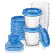 Kit de potes para Armazenamento de leite materno com Tampa