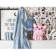Kit Toalha de bebê com capuz 66x76 cm  e 3 Toalhas de boca Elefante azul