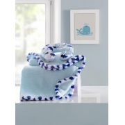 Manta bebê com almofada de pescoço blue acqua