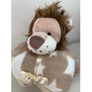 Manta com bichinho de pelúcia - Coleção Floresta Leão