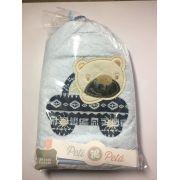 Toalha de banho baby forrada com capuz e bordada 70x80 - Azul