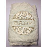 Toalha de banho baby forrada com capuz e bordada 70x80 - bege