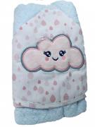 Toalha de banho bebê com capuz e bordada 70x80 Nuvem rosa