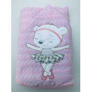 Toalha de banho bebê forrada com capuz e bordada 70x80 bailarina rosa