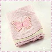 Toalha de banho forrada com capuz e bordada 70x80 - Borboleta