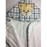 Toalha de banho forrada com capuz e bordada 70x80 - Gato