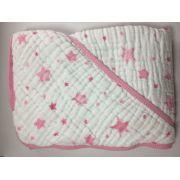 Toalha de fralda soft com capuz 80cm x 80cm  Rosa