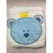 Toalha de fralda soft com capuz e bordado de Urso 90cm x75cm