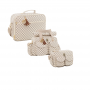 Kit bolsa maternidade escocesa caramelo 3pcs bolsa, mala, frasqueira - Lequiqui