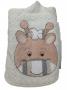 Toalha de banho bebê forrada com capuz e bordada 70x80 girafa bege