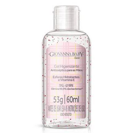 Álcool gel 70% higienizante para as mãos 60ml rosa - Giovanna Baby