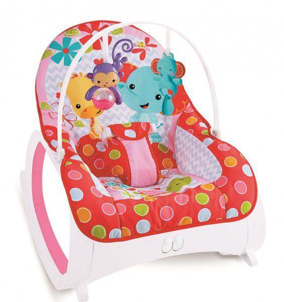 Cadeira de descanso vibratória musical e com balanço safari vermelha até 18kgs - Colorbaby