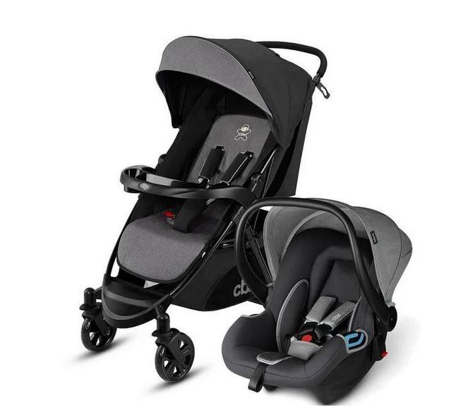 Carrinho de Bebê com Bebê Conforto Cinza e preto - Cbx Woya