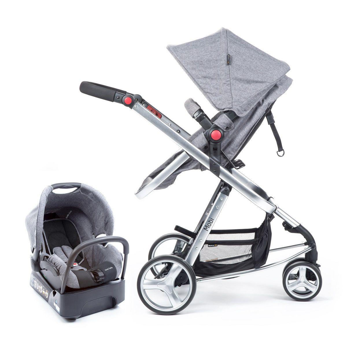 Carrinho de bebê Travel System Mobi denin cinza - Safety 1st