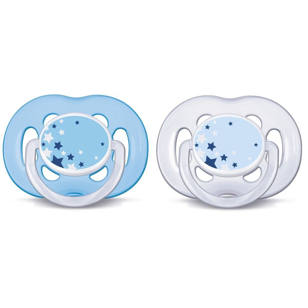 Chupeta Freeflow Noturna Dupla Meninos Avent - 6 a 18 meses - Philips Avent