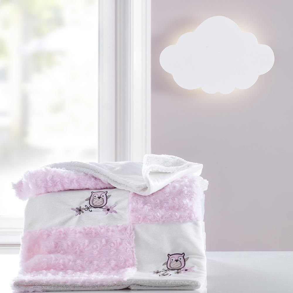 Cobertor Patchwork bordado Yupi Coruja rosa