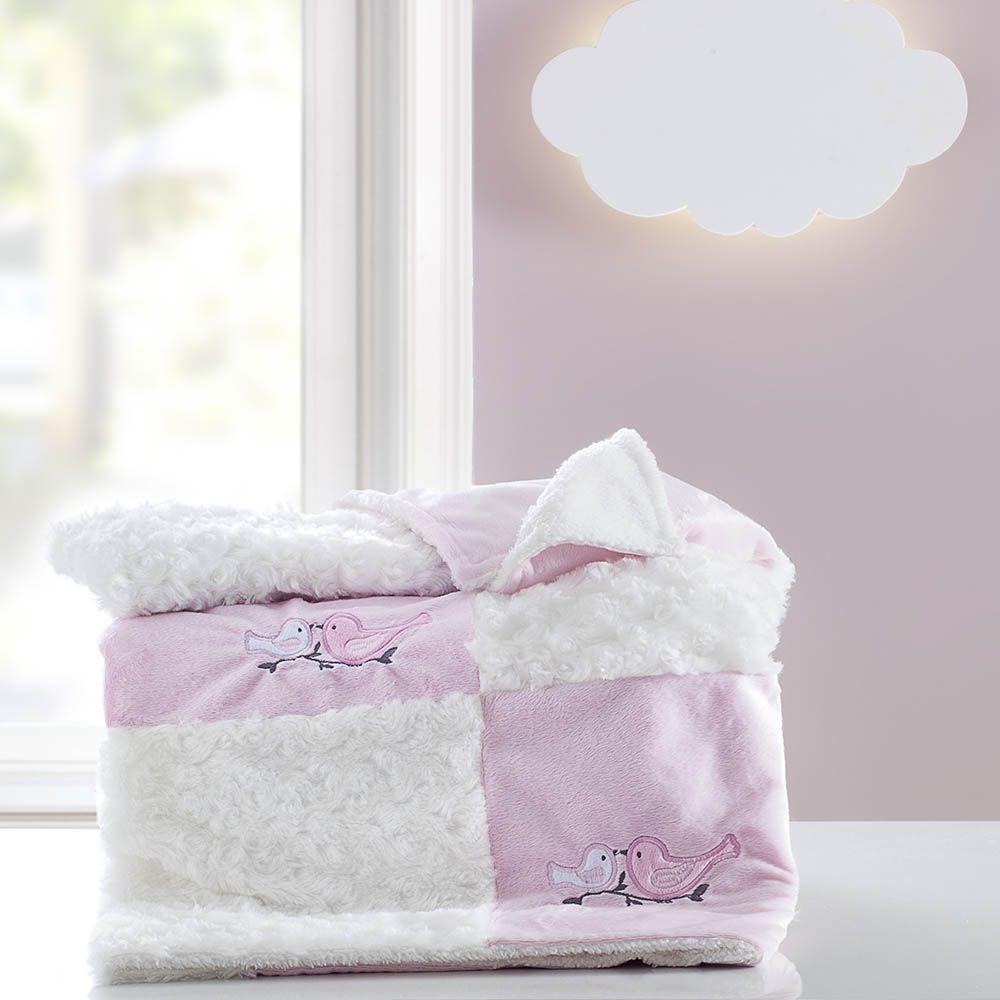 Cobertor Patchwork bordado Yupi Jardim rosa