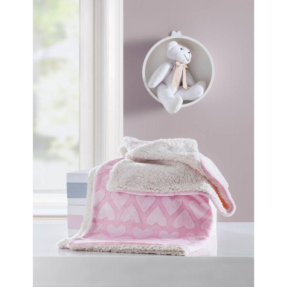 Cobertor soft Jacquard coração rosa