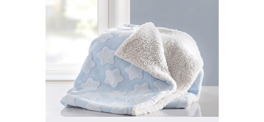 Cobertor soft Jacquard estrela azul