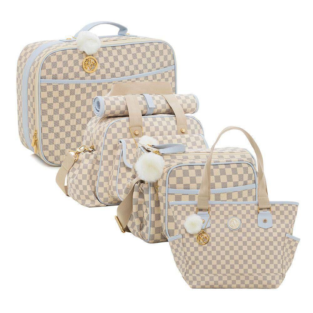 Conjunto bolsa maternidade Escocesa Colours cru com azul 4 peças - Lequiqui