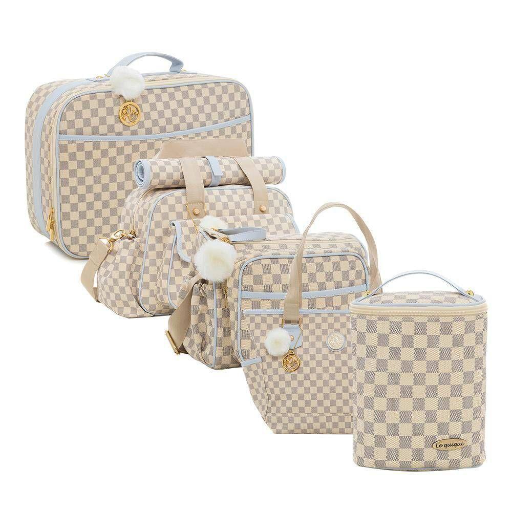 Conjunto bolsa maternidade Escocesa Cru com azul 5 peças - Lequiqui