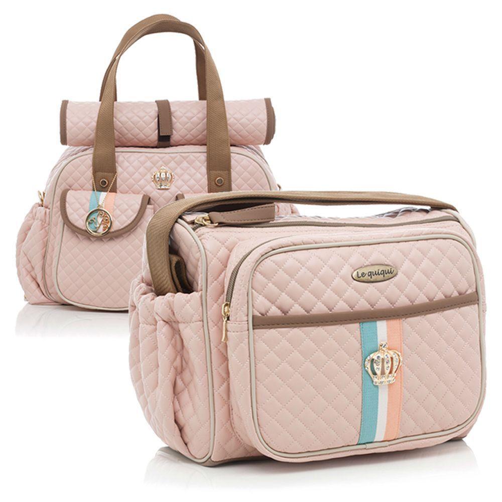 Conjunto Bolsa maternidade Monarchy rosa kit 02 peças frasqueira+bolsa - Lequiqui