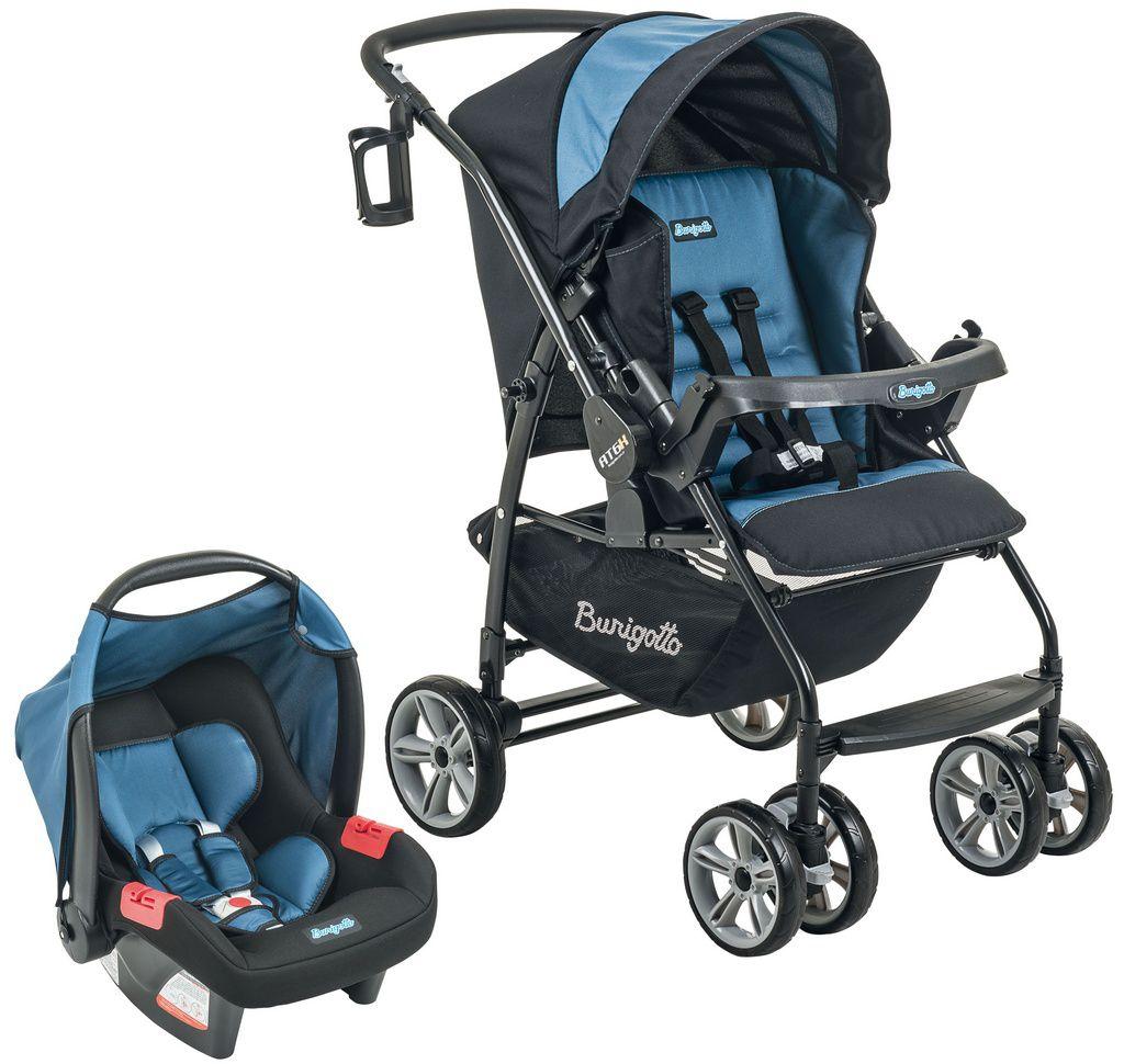 Conjunto Carrinho de bebê + bebê conforto AT6 K+Touring Evol SE Preto e Azul - Burigotto