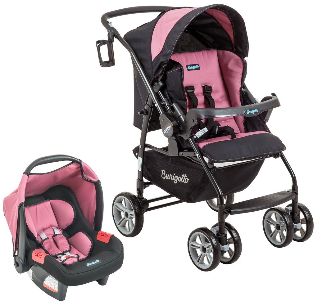Conjunto Carrinho de bebê + bebê conforto AT6 K+Touring Evol SE Preto e Rosa