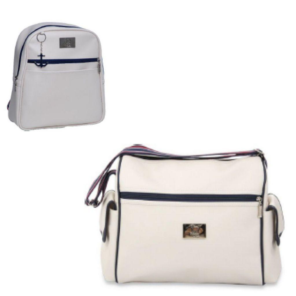 Conjunto de bolsa maternidade - Coleção Náutica mochila e bolsa Off White