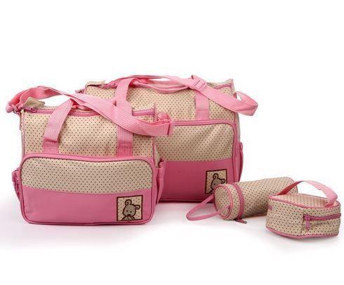 Conjunto de bolsa maternidade - Kit 5 peças - Rosa