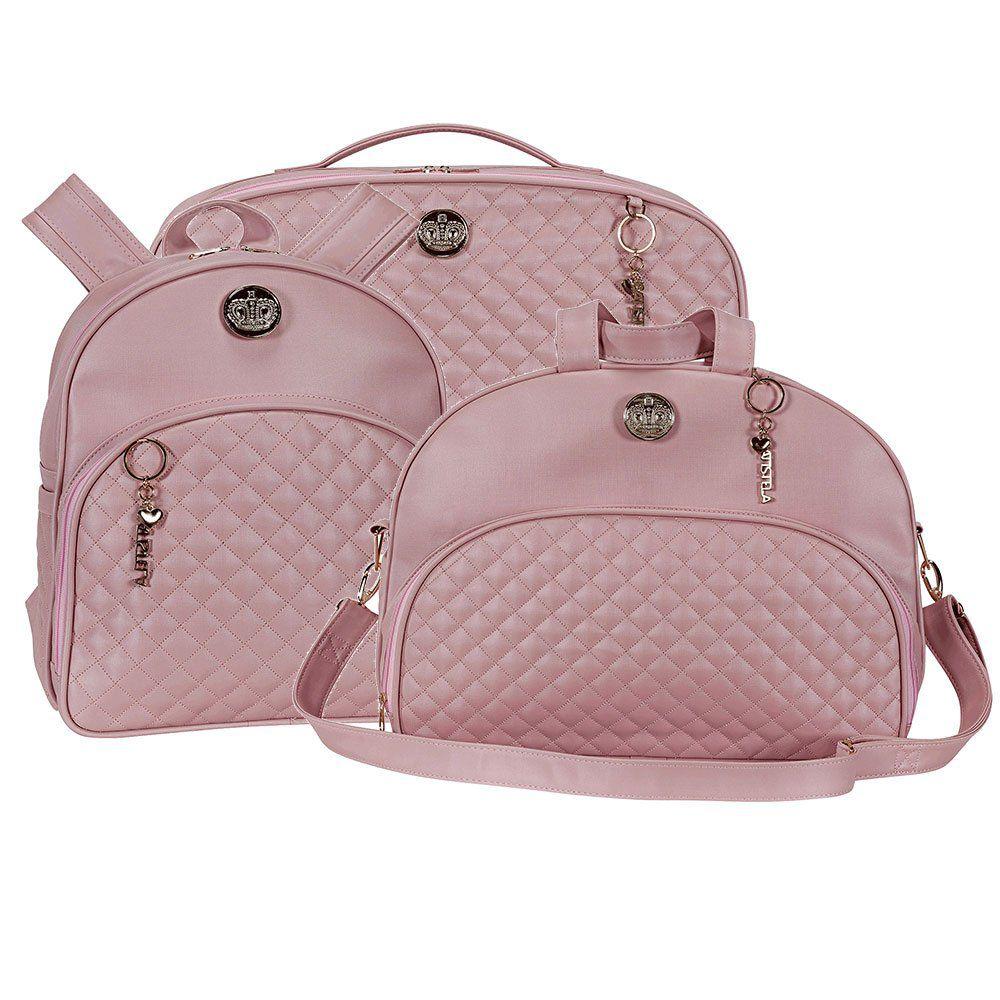 Kit bolsa maternidade Mochila + Mala 3 pçs- Oxford rosê  - Batistela Baby
