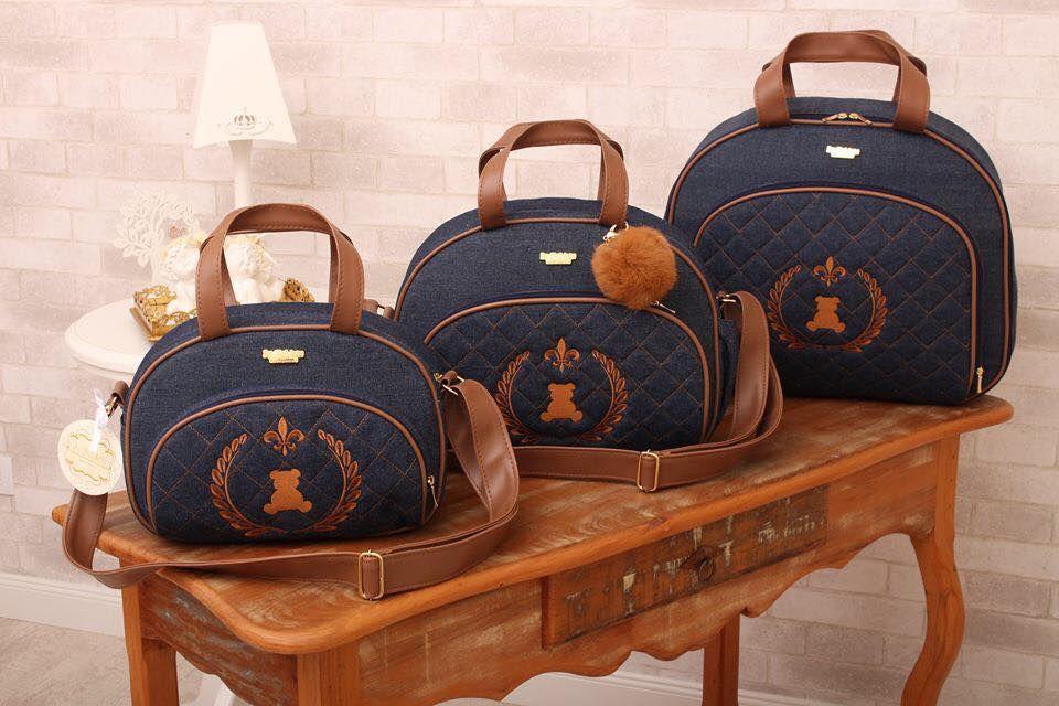 Conjunto de bolsas maternidade - Art Denim Jeans 4 - 3 peças